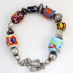 Silpada glass and sterling bead bracelet