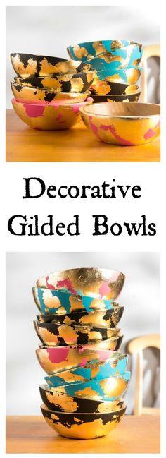 DIY Decorative Gold Gilded Wooden  Bowls Crafts