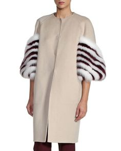 Striped Fox Fur-Sleeve Cashmere Coat, White/Red by Fendi at Neiman Marcus.