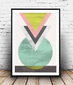 Watercolor abstract, Minimalist art, Geometric poster, Abstract print, Triangle print, Mint green, Modern art, Wall print, Home design, Dimensions