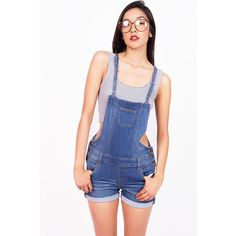 WAX JEAN Moto Denim Overalls ($30) ❤ liked on Polyvore featuring jumpsuits, overalls jumpsuit, fitted jumpsuit, bib overalls, distressed overalls and denim overalls