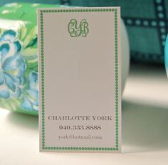 #Monogram #Calling #Card by #LetterLove Designs on #Etsy #Kelly #Green