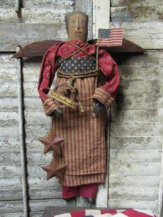 OLde God Bless America Angel..$145.00    http://1897houseprimitives.blogspot.com/
