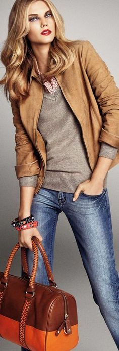 Fall / winter - street style - camel jacket + nude sweater + floral shirt + brown accessories