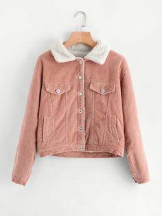 Shop Sherpa Faux Fleece Lined Corduroy Trucker Jacket online. SheIn offers Sherpa Faux Fleece Lined Corduroy Trucker Jacket & more to fit your fashionable needs. Fashion Mode, Girl Fashion, Fashion Outfits, Womens Fashion, Trendy Outfits, Winter Outfits, Cute Outfits, Mode Pastel, Mode Style