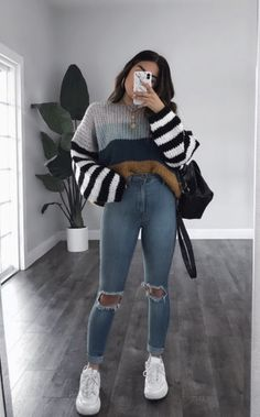 Trendy Fall Outfits, Casual School Outfits, Winter Fashion Outfits, Look Fashion, Stylish Outfits, Cute Outfits For Teens, College Girl Outfits, School Appropriate Outfits, Cute Outfits For Winter