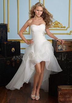 A line Organza Strapless Lace up Short Length Sleeveless Wedding Dress