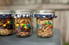 trail mix party favors. woods themed wedding?