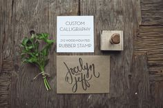 Custom Calligraphy Monogram Stamp from Yours is the Earth