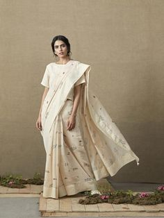 The Botanist expresses the love for plants and foliage through hand block printed illustrations of leaves, buds and small wildflowers, converted to pigment on our shade of sheer beige. Lace Slip, Lace Ruffle, Saree Photoshoot, Shades Of Beige, Block Dress, Layered Look, Indian Sarees, Indian Outfits, Blouse Designs