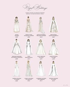 Royal Wedding Dresses Infographic Print (Version Princess Pink) - Infographic showing some iconic British Royal Wedding gowns throughout history. Designed by Leah Zh - Wedding Dress Drawings, Wedding Dress Shapes, Different Wedding Dress Styles, Wedding Dress Silhouette, Diy Wedding Dress, Royal Wedding Gowns, Royal Weddings, Dress Body Type, Fashion Terms