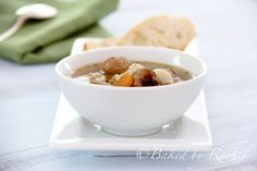 Slow Cooker Mini Meatball Minestrone Soup - Baked by Rachel  Change bread crumbs to almond flour and pasta to rice.