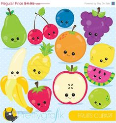 80% OFF SALE Fruit clipart characters by Prettygrafikdesign