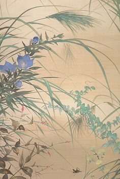 Detail. Tamamura Hokuto (1893-1951). Autumn Grasses (Aki kusa). Japanese hanging scroll; ink and color on silk,