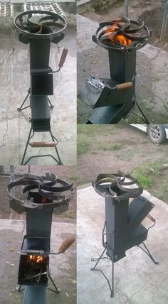 Discover thousands of images about cocina cohete/rocket stove-para disco arado- chapa bifera Wood Gas Stove, Wood Burner, Rocket Heater, Rocket Stoves, Barbecue Grill, Grilling, Outdoor Kocher, Rocket Stove Design, Parrilla Exterior