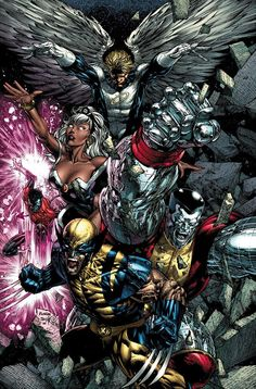 (Top 2 Bottom) Warren Worthington/ Angel, Ororo Monroe/ Storm, Piotr Nikolaievitch Rasputin/ Colossus and Logan/Wolverine