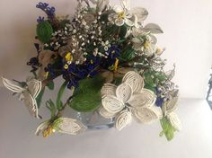 VINTAGE FRENCH HAND MADE BEADED GLASS SEED BEADS FLOWERS 37 STEMS BOUQUET LOT