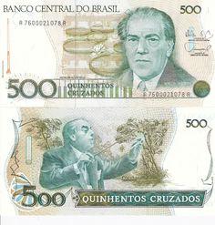 500 Cruzados Brazil 1986 Heitor Villa-Lobos on front and back