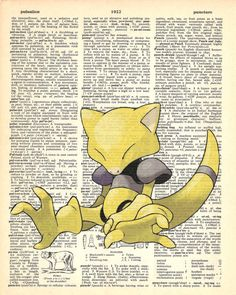 Abra Pokemon Dictionary Art Print by MollyMuffinsPrints on Etsy