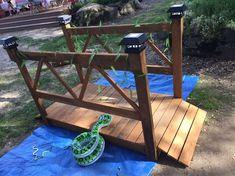 diy wood garden bridge, diy, outdoor furniture, outdoor living, woodworking projects