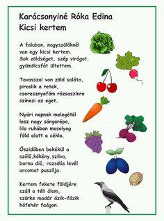 Kindergarten, Poems, Fruit, Vegetables, Holiday Decor, Creative, Poetry, Kindergartens, Verses