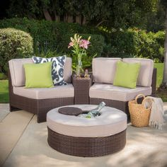 Ibarra Ibiza 4 Piece Sectional Seating Group with Ice Bucket Ottoman