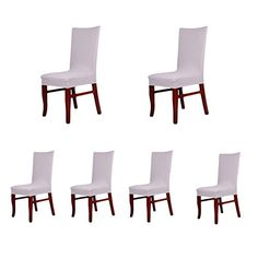 6 X Soft Fit Twill Stretch Dining Room Chair Covers Prote