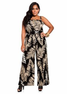 52c2ffcff86 Ashley Stewart Women s Plus Size Leaf Print Jumpsuit