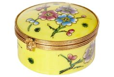 French Porcelain Floral Round Box