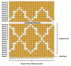 """The location where building and construction meets style, beaded crochet is the act of using beads to decorate crocheted products. """"Crochet"""" is derived fro Tapestry Crochet Patterns, Crochet Motifs, Crochet Stitches Patterns, Crochet Diagram, Crochet Chart, Filet Crochet, Diy Crochet, Knitting Patterns, Beginner Crochet"""