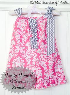 housewivesofriverton.com share this sweet and tiny Dainty Damask Pillowcase Romper