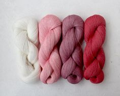 Set of 4 linen skeins  white-pink by YarnStories on Etsy