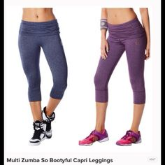 Women's  So Bootyful workout crop legging Very flattering booty lifting workout capris very thick dri wicking material new with tags.     Two avaliable  light purple is small and grey is XS  the price is for each  or both for 40 Zumba Wear Pants Capris
