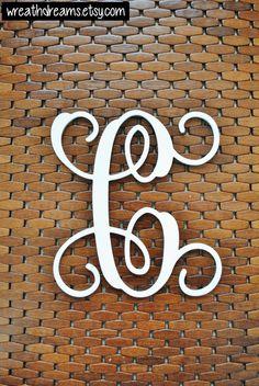 Letter C 12-20 Inch Wood Script Monogram. Wood by WreathDreams