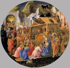 Adoration of the Magi - Fra Filippo Lippi / Fra Angelico.  c.1445.  Tempera on wood.  Diameter: 137 cm.  National Gallery of Art, Washington DC, USA.