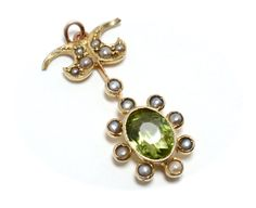 Edwardian  Peridot and Pearl 9K Gold by RubyInTheDustVintage