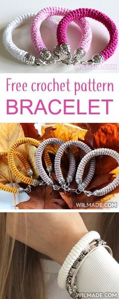 Here you can find a free crochet pattern to make a beautiful crochet bracelet. It's very easy and fast to make. Also perfect to make as a gift for friends and family. Crochet Gifts, Crochet Yarn, Crochet Stitches, Bijoux Diy, Jewelry Patterns, Bracelet Patterns, Crochet Accessories, Beautiful Crochet, Crochet Clothes