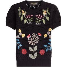 Valentino Open Knit Top (€2.740) ❤ liked on Polyvore featuring tops, black, short sleeve tops, floral top, flower print top, black top and open knit top