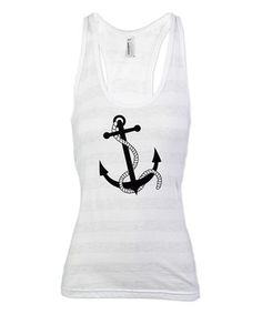 Another great find on #zulily! White Stripe Anchor Racerback Tank - Women by CafePress #zulilyfinds
