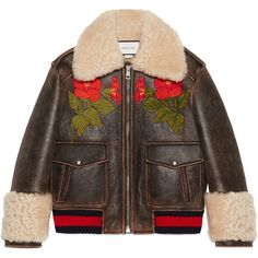 Gucci Embroidered Leather Bomber With Shearling Lining (€5.070) ❤ liked on Polyvore featuring outerwear, jackets, outerwear & leather jackets, ready-to-wear, women, embroidered jacket, bomber jackets, genuine leather bomber jacket, flower bomber jacket and fleece-lined jackets