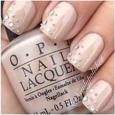 OPI nude with rhinestone nails