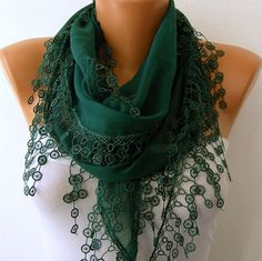 Emerald Green Scarf  -  Scarf -Cotton Cowl Scarf - Shawl  with Lace Edge   -fatwoman - Bridesmaids Gifts. $15.00, via Etsy.