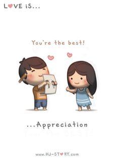 HJ Story - Love is… appreciation I appreciate you by drawing. Hj Story, Love Is Cartoon, Cute Love Cartoons, Couple Cartoon, Cartoon Pics, Love Is Sweet, What Is Love, My Love, Cute Love Couple