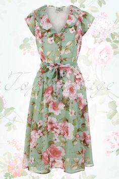 Collectif Clothing Violet Floral Antique Green Dress 14773 1