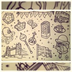 queen jubilee tattoo flash telephone box crown diamond bus bulldog teacup london tower bridge bunting policeman helmet