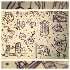 queen jubilee tattoo flash telephone box crown diamond bus bulldog teacup london tower bridge bunting policeman helmet