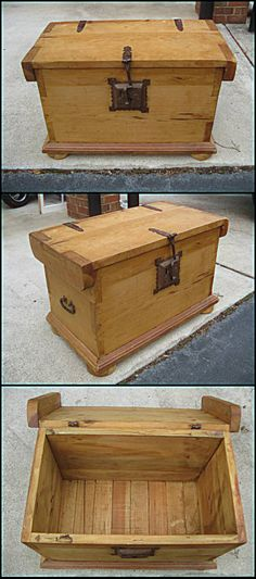 i just got this trunk off of craigslist for $50. solid wood, unstained. i plan on staining it darker naturally. it will be used as a coffee table and storage for extra blankets when we have guests.