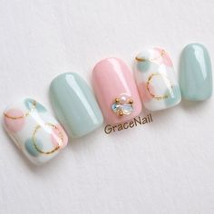 Spring / All Season / Date / Women& Association / Hand-GraceNail Nail Nail book- 春/オールシーズン/デート/女子会/ハンド – Pastel dot nail # pink nail Nail Salon Cute Nails, Pretty Nails, My Nails, Bling Nails, Nail Designs Spring, Gel Nail Designs, Pastel Nails, Acrylic Nails, Nail Pink