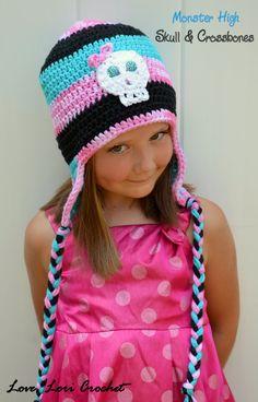 Adorable Crochet Monster High Hats Skull Hats by LoveLoriCrochet