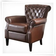 Good Franklin Brown Tufted Leather Club Chair